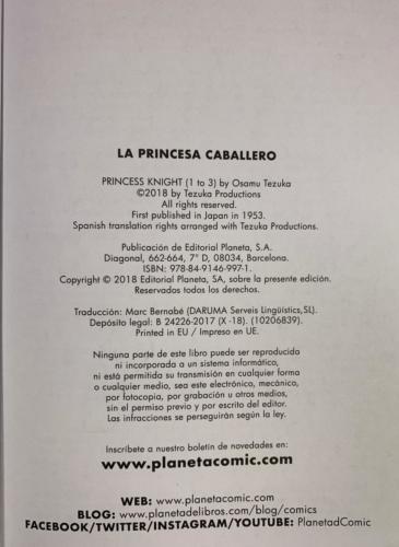La Princesa Caballero -Créditos Planeta Cómic